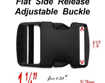"4 BUCKLES - 1 1/4"" - FLAT Side Release, 1 1/4 inch, Strap Adjuster, 1.25, Heavy Duty Polyacetal Plastic, Black"