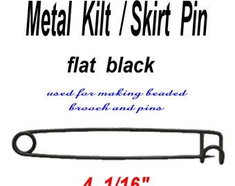 12 PINS - Kilt Scarf Brooch PIN - 4 inch - Flat Black METAL