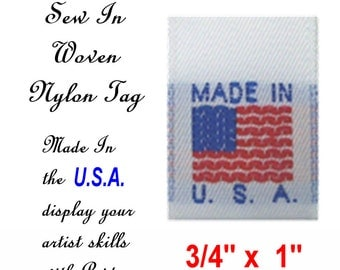 50 TAGS - Made In The USA - Nylon Sew In Tags - Show Your Pride