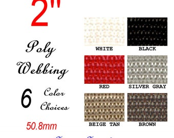"""10 Yards - 2"""" - POLY Webbing, Variety Pack, Medium Weight, Strap, You Choose Colors"""