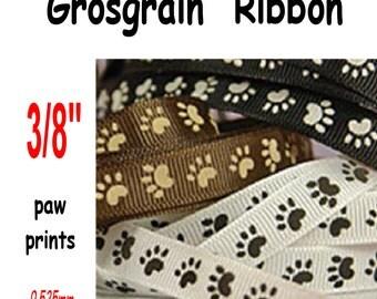 """25 Yard Reel - 3/8"""" - Grosgrain Ribbon, 3/8 inch, PAW PRINT - You choose color"""