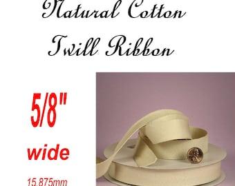 "BULK 25 Yard Reel - 5/8 "" - Natural Cotton Twill Ribbon Tape, 5/8 inch"