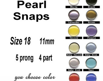 12 SETS - Pearl No Sew SNAPS, 11mm, 5 prong, 4 Part, Size 18 - You Choose Color