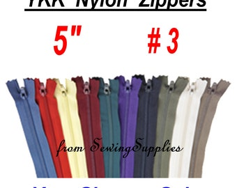 "10 ZIPPERS - 5"" - YKK Nylon Zippers - 5 inch - You Choose Colors"