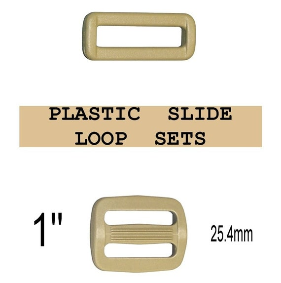 "10 SETS - 1"" - Strap Adjuster and Rectangular Loop, 1 inch, COYOTE Tan, Plastic, 25mm, 3 Bar Slider, Tri Bar"