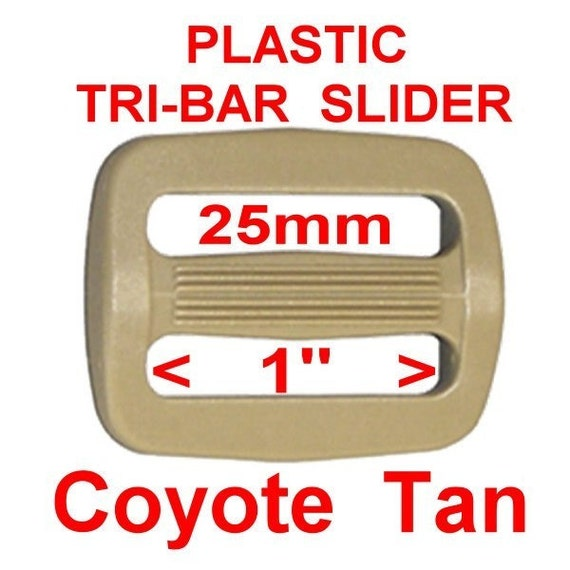 "100 PIECES - 1"" - Strap Adjuster Slide, 1 inch, Coyote TAN, Plastic, 25mm, Tri Bar"