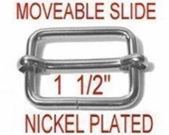 "10 PIECES - 1 1/2"" - Moveable Tri Bar Strap Adjuster Slide, 1 1/2 inch, 38mm, Nickel Plate, 1.5"