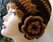 Chocolate brown and rust beanie with flower