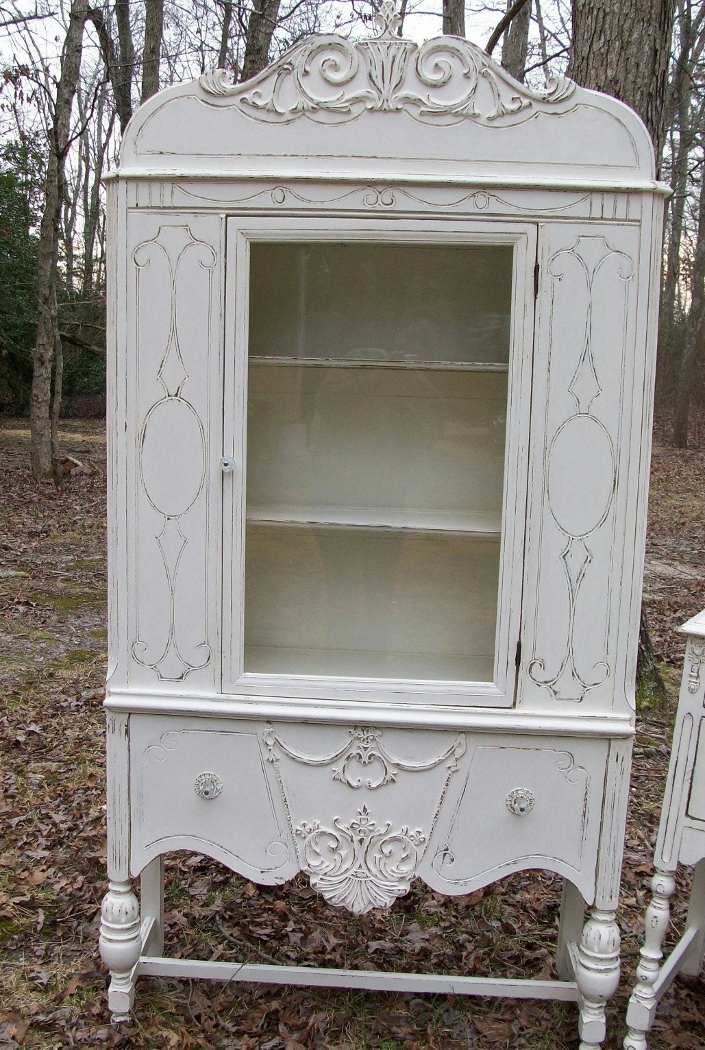 Shabby Cottage Chic Vintage 1930 S Cream China Cabinet