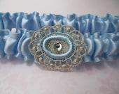 Blue Wedding garter, something blue bridal garter, Silk satin with Rhinestone, Gold silk thread, bridal lingerie, bridal shower gift