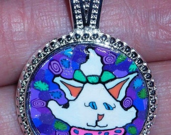 Polymer Clay Pendant 15mm Kitty Cat