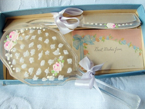 Vintage Baby Girl Brush Comb Set Shabby Roses Tole Painting