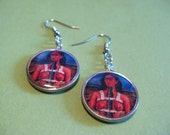 Frida Kahlo - earrings - dangle - frame - blue - silver - day of the dead - mexico
