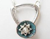 Blue flower pendant - Hammered flower necklace - flower necklace - poppy necklace - metal necklace - texture necklace