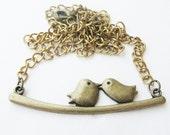 love bird necklace - brass bird necklace - bird pendant - bird necklace - bronze necklace - statement  - necklace