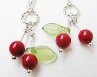 cherry earrings - rockabilly earrings - sailor jerry earrings - fruit jewelry - summer earrings -