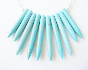 Turquoise boho spike necklace - fringe necklace - statement necklace - festival necklace - dagger - chunky necklace -