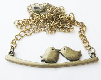 love bird necklace - brass bird necklace - bird pendant - bird necklace - bronze necklace - statement  - necklace