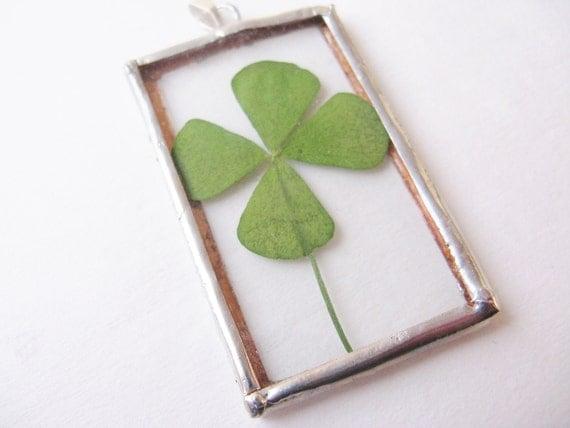 4 leaf clover pendant  - four leaf clover necklace - silver clover necklace - clover necklace - four leaf clover jewelry