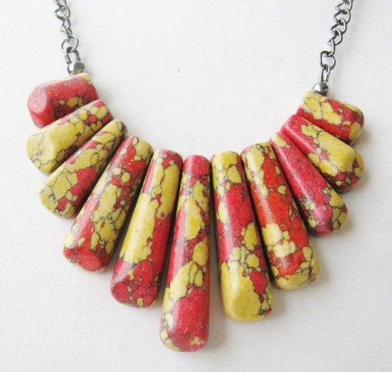 tribal fringe necklace - statement necklace - spike necklace - red - yellow - semi precious - bib -necklace