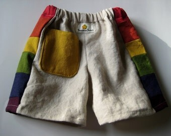 Linen and Cotton R A I N B O W Shorts..baby,  toddler... 6 months, 12 months, 18 months, 2T, 3T, 4T, 5, 6, 7, 8...Made to Order