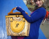 TURTLE TOTE IN YELLOW SNAKESKIN