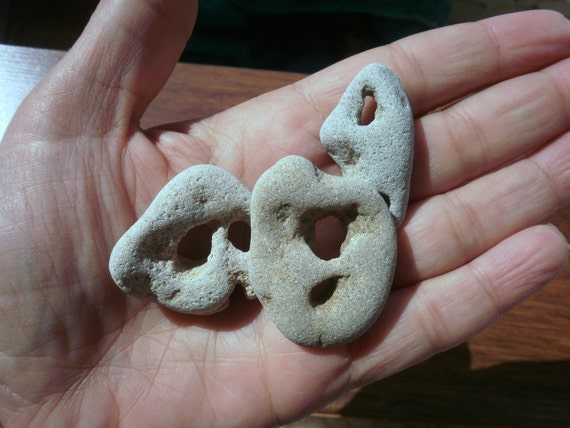 3 Natural Powerful Holey / Holy / Hag / Odin Fairy Dream Stone Rock - 2 holes
