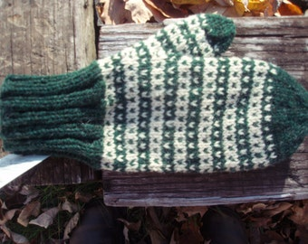 New England wool mittens in pine green and natural hand knit mittens for women