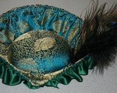 Blue And Gold Tricorn with Feathers