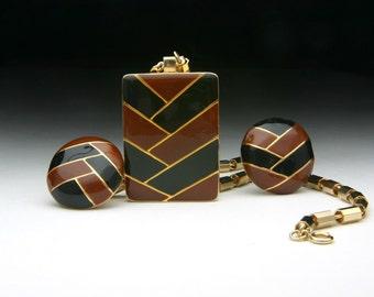 Lanvin Paris pendant necklace and earring vintage 1970s set