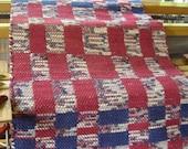 Dark Red, Navy and Cream Handwoven Rag Rug