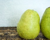 Bright Green Pear Photograph, Food Photography, Kitchen Art, Blue, Brown and Green, 8 x 12 - Joined at the Hip