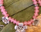 CHARMING IN PINK  Thai silver flowers and pink resin