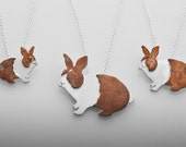 Tiny 2-tone Bunny Necklace  (on left)