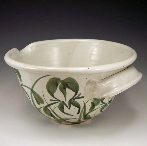 Irises large white batter mixing bowl webb pottery for Fish batter bowl