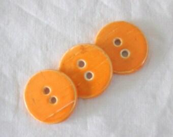 Tangerine Dream - Three (3) Handmade Earthenware Buttons