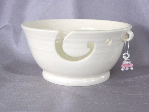 White Yarn Bowl with Beaded Stitch Markers
