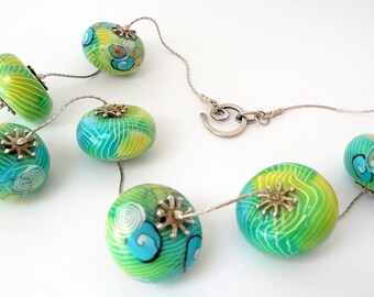 Polymer Clay Necklace, Fimo Silver Necklace, Blue Green Yellow, Blue Green Necklace, Translucent Beads, Spiral Beads, Striped Beads