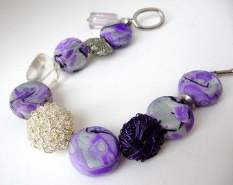 Purple Clay Bracelet, Quartz Bracelet, Polymer Clay Beads, Purple Wire Bracelet, Purple Clay Beads, Mokume Gane Beads, Wire Wrapped Beads