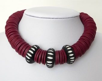 Red Black White  - Polymer Clay Necklace - Red Fimo Necklace - Red Black Choker - Black Red Collar - Red African Necklace - Ethnic Choker