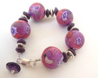 Elegant Boho Jewelry, Bracelet Flower Red, Colorful Bracelet, Red Polymer Bracelet, Bracelet Flower Pink, Bracelet Flower Boho, Gift For Her