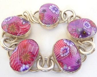 Flower Bracelet, Polymer Clay Bracelet, Pink Purple Bracelet, Silver Bracelet, Millefiori Bracelet, Purple Flowers, Silver Flower Bracelet