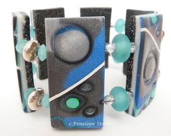 Blue Silver Bracelet, Polymer Clay Cuff, Silver Fimo Bracelet, Metallic Bracelet, Mica Shift Bracelet, Mokume Gane Bracelet, Wide Cuff