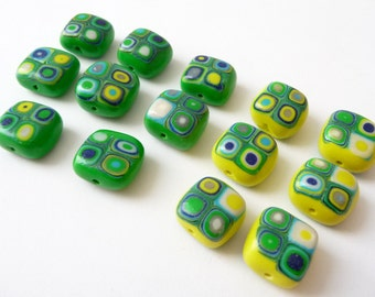 Polymer Clay Beads, Green Cube Beads, Retro Beads, Green Yellow Beads, Square Green Beads, Blue Green Beads, Blue Yellow Beads, Fimo Beads