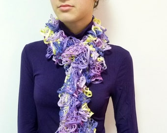 Long Ruffle Scarf - Purple Yellow Scarf - Purple Lace Scarf - Purple Scarf - Knit Ruffle Scarf - Lilac Scarf - Purple Fashion Scarf