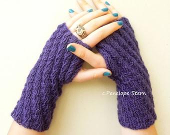 Womens Gloves, Purple Gloves Knit, Purple Mittens Knit, Purple Hand Warmers, Knit Gloves Wool, Womens Gloves Knit, Fingerless Gloves