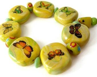 Butterfly Bracelet, Yellow Bracelet, Yellow Butterfly, Yellow Lampwork Bracelet, Yellow  Fimo Bracelet, Yellow Green Beads, Butterfly Beads