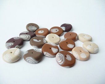 Brown Flat Beads, Brown Polymer Beads, Brown Fimo Beads, Brown Beads, Brown Round Beads, Brown Spiral Beads, Polymer Clay Beads, Beige Beads