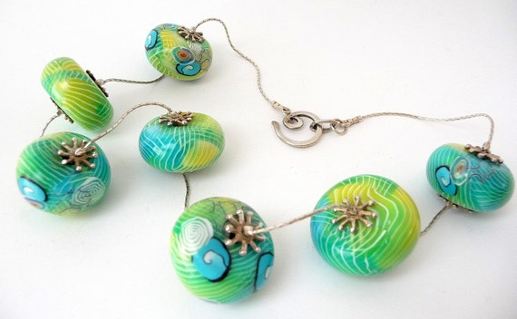 Polymer Clay Sterling Silver Necklace Blue Green Yellow Translucent Spiral