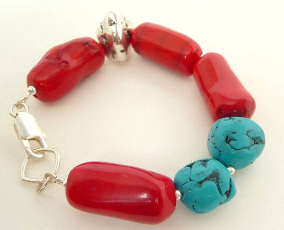 Coral Turquoise Silver Bracelet  Polymer Clay Faux Turquoise Red Coral  Sterling Silver Nugget